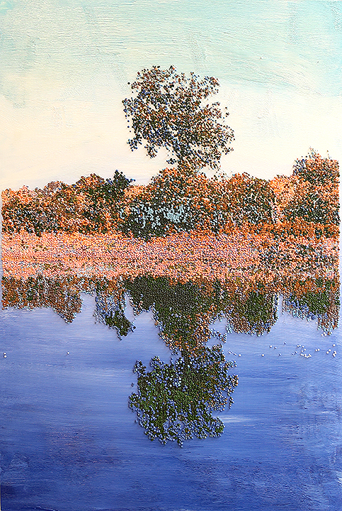 "Pointillist landscape from Brazos County Texas: ""Weretree"" (28x36 inches)"